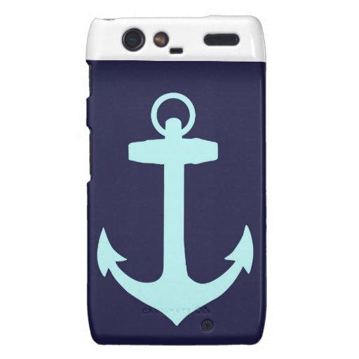 Aqua Anchor on Navy Blue Background. Motorola Droid RAZR Case