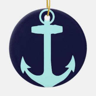 Aqua Anchor on Navy Blue Background. Ceramic Ornament