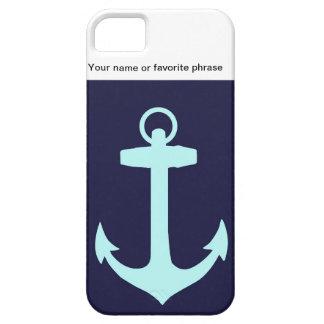 Aqua Anchor on Navy Blue Background. iPhone SE/5/5s Case