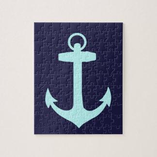 Aqua Anchor on Navy Blue Background. Jigsaw Puzzle