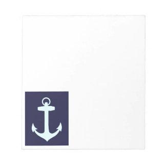 Aqua Anchor on Navy Blue Background. Scratch Pads