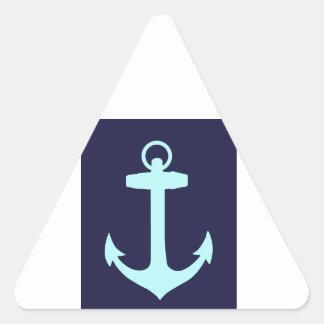 Aqua Anchor on Navy Blue Background. Triangle Sticker