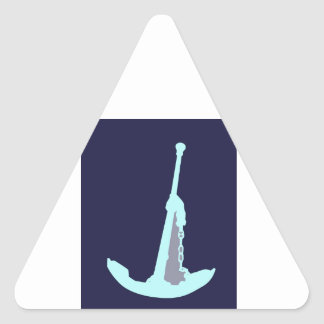 Aqua Anchor with Grey on Navy Blue background. Sticker