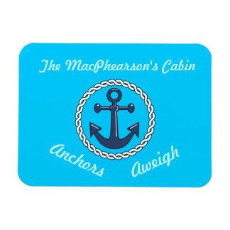 Aqua Anchors Aweigh Aqua Stateroom Door Marker Rectangular Photo Magnet