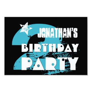 AQUA and BLACK 2nd Birthday Grunge Party Card