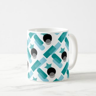 Aqua and Black Art Deco Classic Coffe Mug