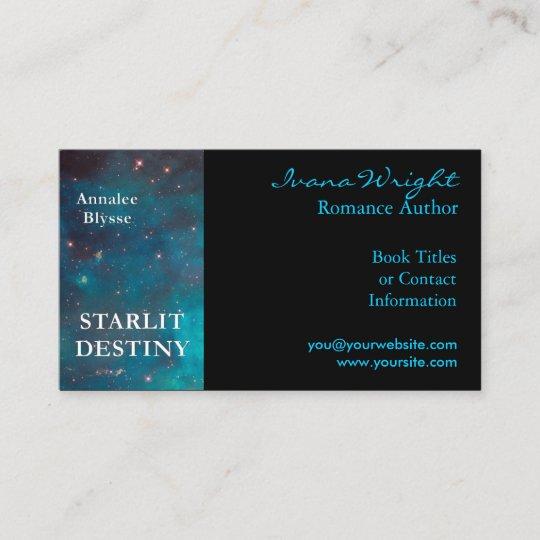 aqua and black book cover author business card - Author Business Cards