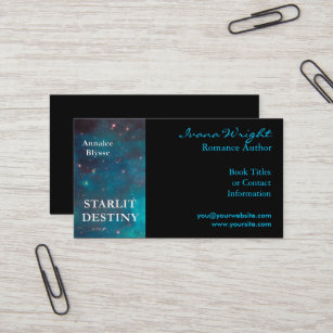 Book business cards zazzle aqua and black book cover author business card colourmoves
