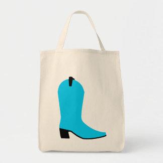 Aqua and Black Boot Tote Bag