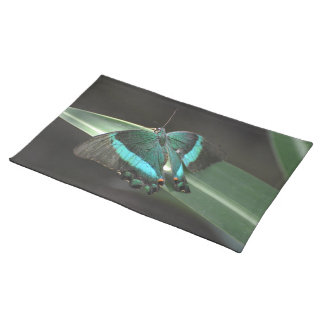 Aqua and Black Butterfly Place Mat