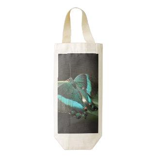 Aqua and Black Butterfly Zazzle HEART Wine Bag