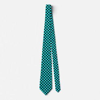 Aqua and Black Checked Tie