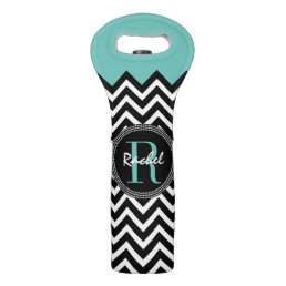 Aqua and Black Chevron Monogrammed Wine Bag