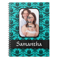Aqua and black damask notebook