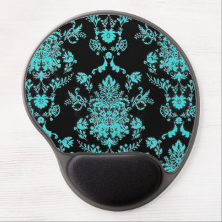 Aqua and Black Damask Print Gel Mouse Pad