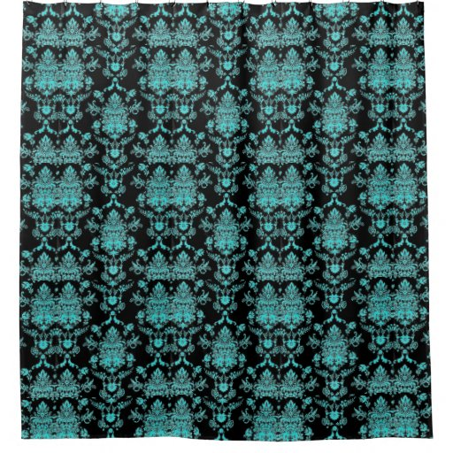 Aqua And Black Damask Print Shower Curtain