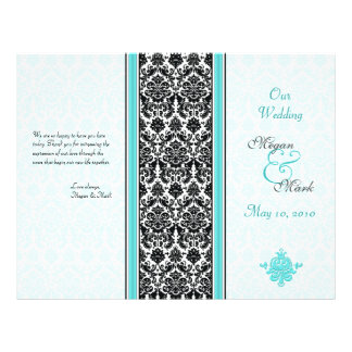 Aqua and Black Damask Wedding Program