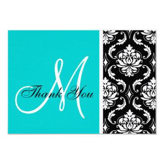 Aqua and Black Damask Wedding Thank You Card