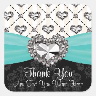 Aqua and Black Diamond Heart Thank You Labels