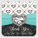 Aqua and Black Diamond Heart Thank You Labels Square Stickers