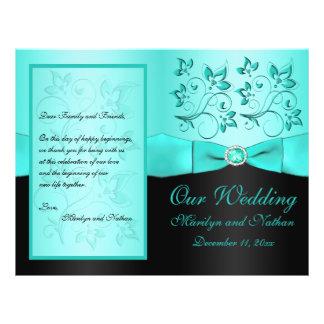 Aqua and Black Floral II Wedding Program Flyers