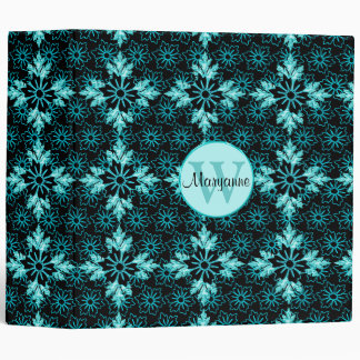 Aqua and Black Floral Jewel Monogram 2 inch Binder