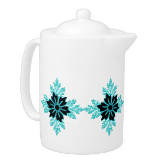 Aqua and Black Floral Jewel Teapot