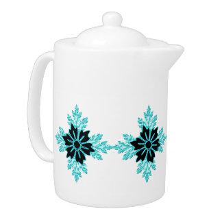 Aqua and Black Floral Jewel Teapot