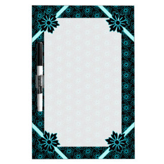 Aqua and Black Floral Pattern Dry-Erase Board