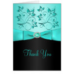 Aqua and Black Floral Thank You Card Card