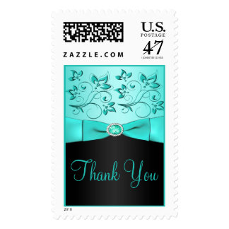 Aqua and Black Floral Thank You Postage