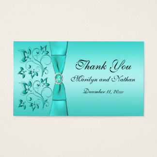 Aqua and Black Floral Wedding Favor Tag