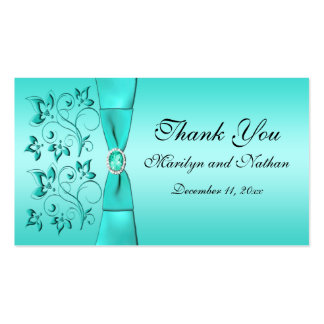 Aqua and Black Floral Wedding Favor Tag Business Card