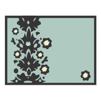 Aqua and Black Flower Power Post Card
