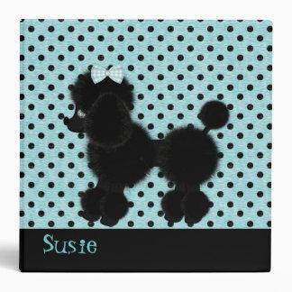 Aqua and Black French Poodle Binder