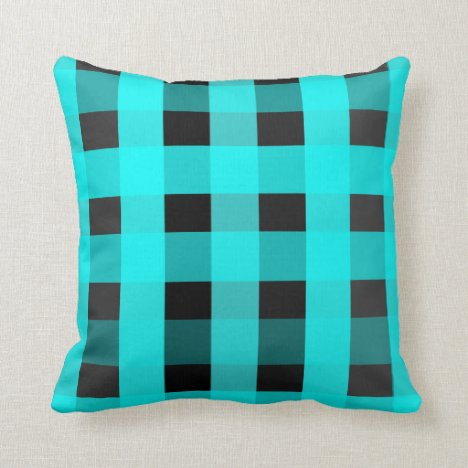 Aqua and Black Gingham-Patterned Throw Pillow