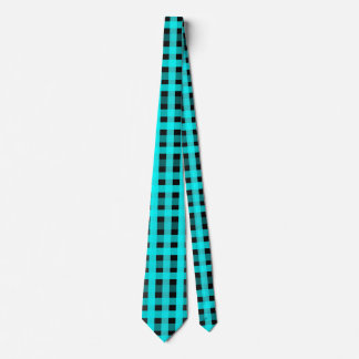Aqua and Black Gingham-Patterned Tie