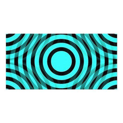 aqua_and_black_interlocking_concentric_circles photo card
