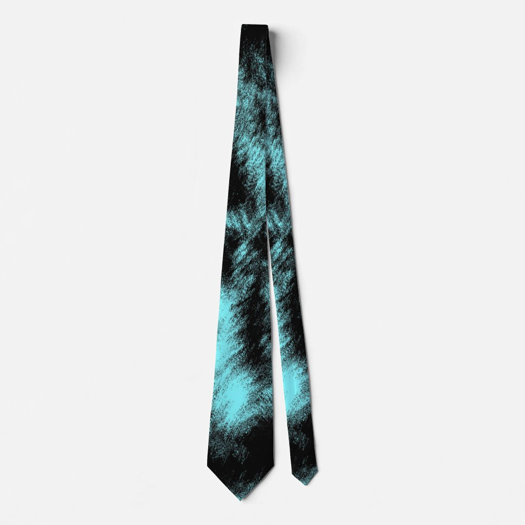 Aqua and Black Modern Art Neck Tie