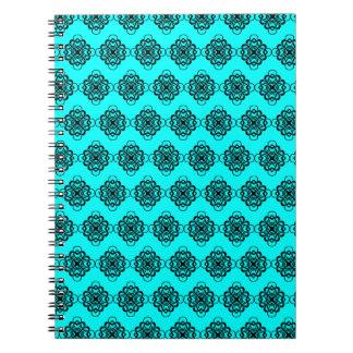 Aqua and Black Modern Decorative Links Notebooks