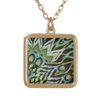Aqua and Black Peacock Square Pendant Necklace