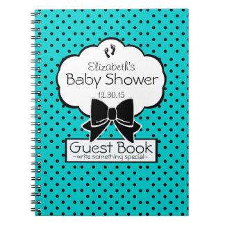Aqua and Black Polka Dot Baby Shower Guest Book- Spiral Notebook