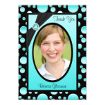 Aqua and Black Polka Dot Photo Thank You Card Personalized Invite