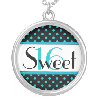 Aqua and Black Polka Dot Sweet Sixteen Necklace