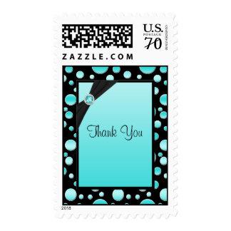 Aqua and Black Polka Dot Thank You Postage