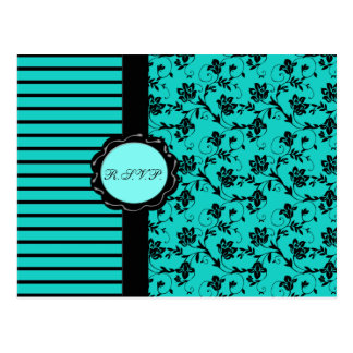 Aqua and Black R.S.V.P. Card