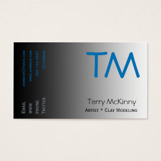 Aqua and Black Simple Initials Business Card