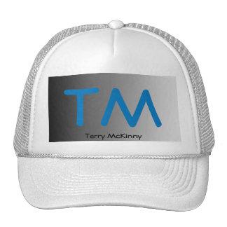 Aqua and Black Simple Initials Trucker Hat