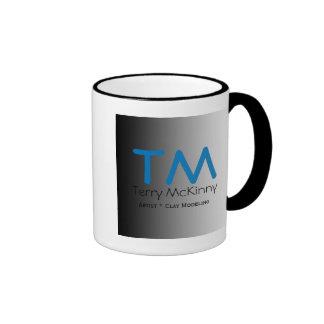 Aqua and Black Simple Initials Mug