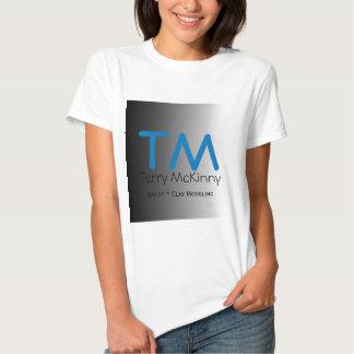 Aqua and Black Simple Initials T-Shirt